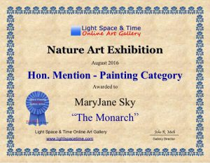 Honorable Mention Award for MaryJane Sky Fine Art