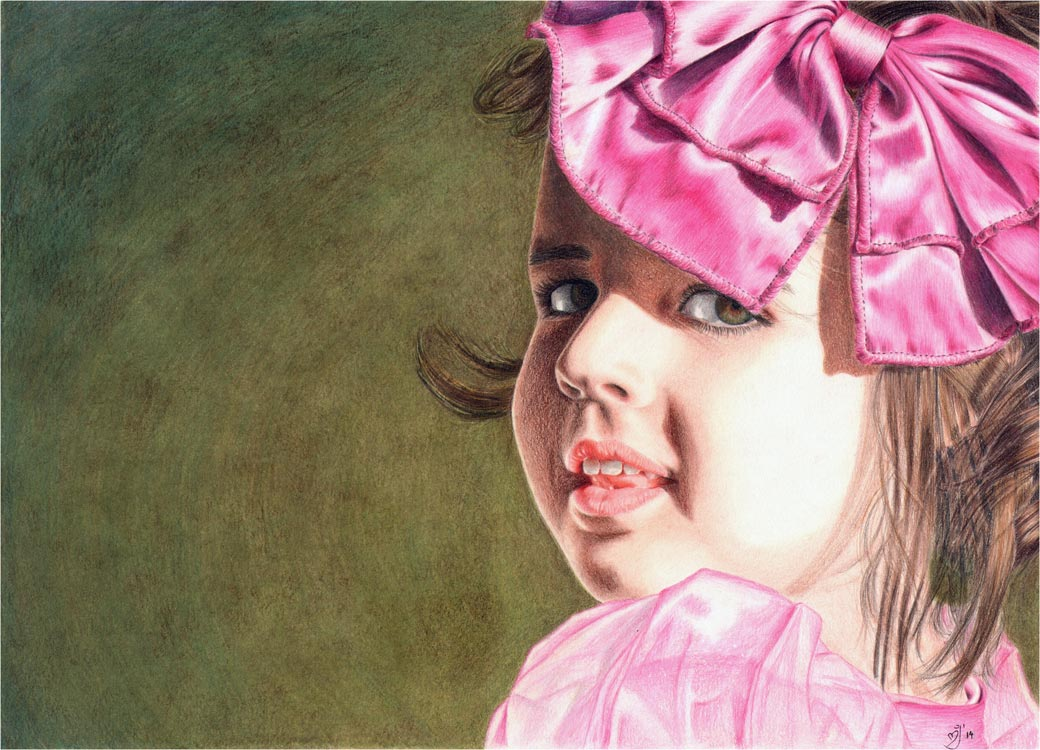 Beloved - a colored pencil portrait of a girl with a pink bow by maryjane fine art