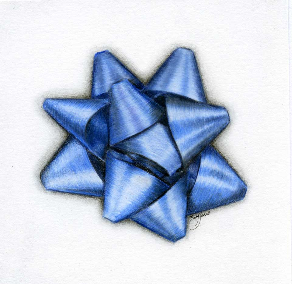 colored pencil drawing of a blue bow by maryjane sky fine art